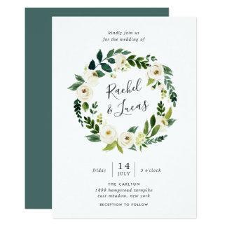 Alabaster Floral Wreath Wedding Invitation