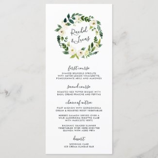 Alabaster Floral Wreath Wedding Menu Card