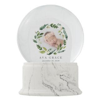 Alabaster Wreath Baby Photo & Birthdate Snow Globe
