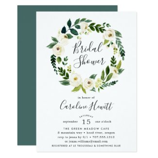 Alabaster Wreath Bridal Shower Invitation