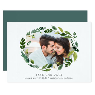 Alabaster Wreath Photo Save the Date Card