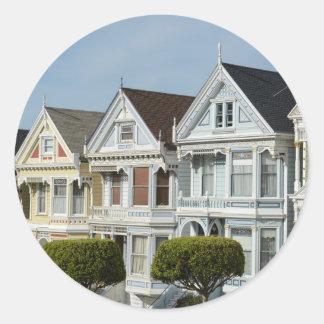 Alamo Square Victorian Houses in San Francisco Classic Round Sticker