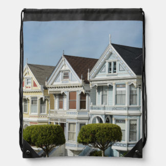 Alamo Square Victorian Houses in San Francisco Drawstring Bag