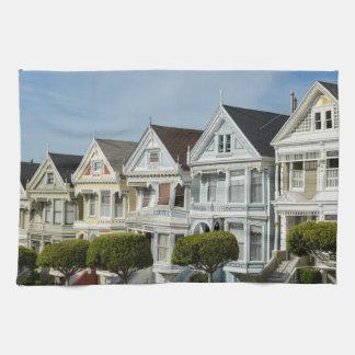 Alamo Square Victorian Houses in San Francisco Hand Towel