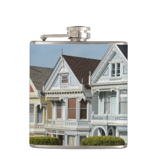 Alamo Square Victorian Houses in San Francisco Hip Flask