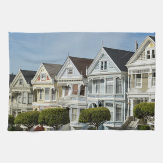Alamo Square Victorian Houses in San Francisco Kitchen Towel