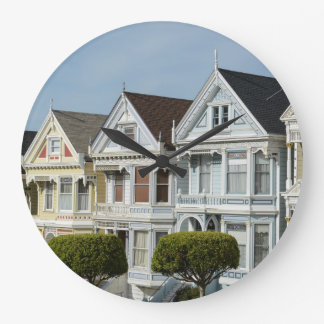 Alamo Square Victorian Houses in San Francisco Large Clock