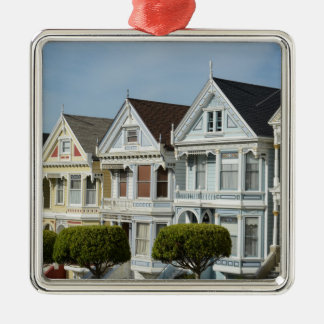 Alamo Square Victorian Houses in San Francisco Metal Ornament