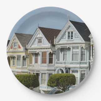 Alamo Square Victorian Houses in San Francisco Paper Plate