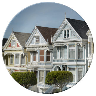 Alamo Square Victorian Houses in San Francisco Porcelain Plate