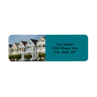 Alamo Square Victorian Houses in San Francisco Return Address Label