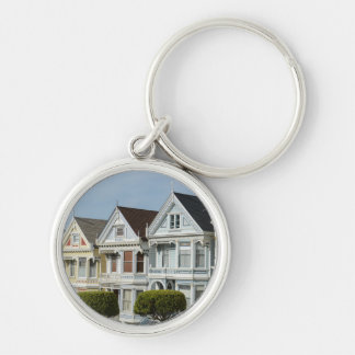 Alamo Square Victorian Houses in San Francisco Silver-Colored Round Keychain