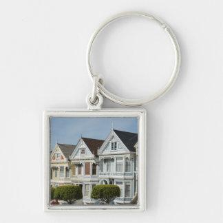 Alamo Square Victorian Houses in San Francisco Silver-Colored Square Keychain