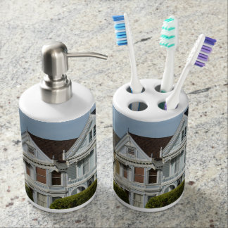 Alamo Square Victorian Houses in San Francisco Soap Dispenser And Toothbrush Holder