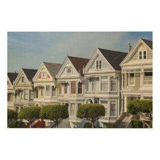 Alamo Square Victorian Houses in San Francisco Wood Wall Art