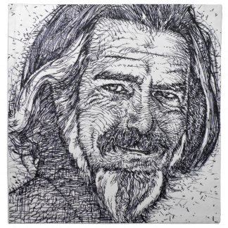 ALAN WATTS - ink portrait Napkin