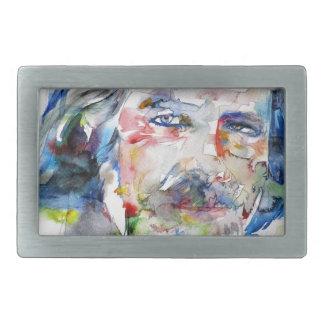alan watts - watercolor portrait.3 rectangular belt buckles