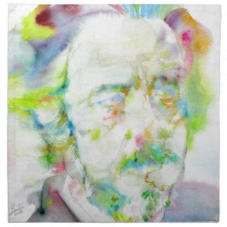 alan watts - watercolor portrait napkin