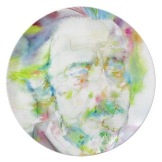 alan watts - watercolor portrait plate