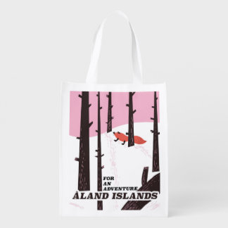 Åland Islands, Finland travel poster Reusable Grocery Bag