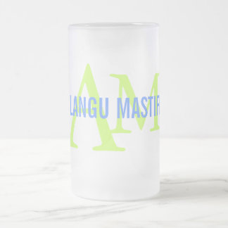 Alangu Mastiff Breed Monogram Frosted Glass Mug