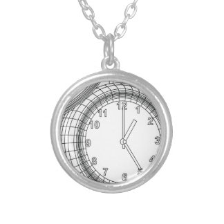 alarm clock silver plated necklace