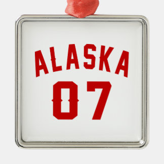 Alaska 07 Birthday Designs Silver-Colored Square Ornament
