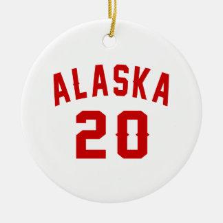 Alaska 20 Birthday Designs Round Ceramic Ornament