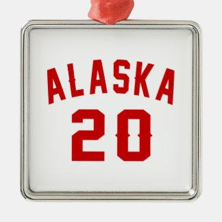 Alaska 20 Birthday Designs Silver-Colored Square Ornament