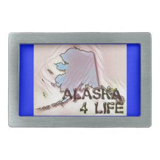 """""""Alaska 4 Life"""" State Map Pride Design Belt Buckles"""