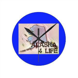 """Alaska 4 Life"" State Map Pride Design Round Clock"