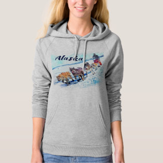 Alaska (AK) A sled dog team Watercolor painting Hoodie