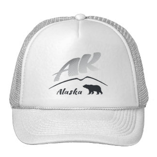 Alaska (AK) Kodiak brown bear - Black Logo Trucker Hat