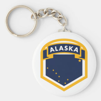 Alaska AK State Flag Shield Basic Round Button Keychain