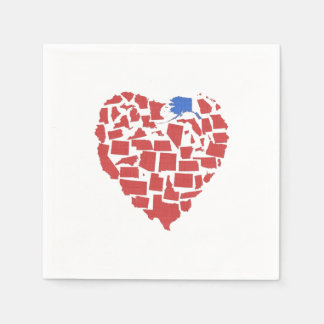 Alaska American States Heart Mosaic Red Disposable Napkins