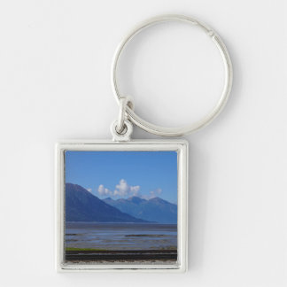 Alaska Beauty Silver-Colored Square Keychain