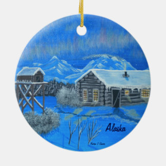 Alaska Bush Homestead Ceramic Ornament