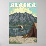 Alaska - Bush Plane and Fishing Poster