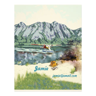 Alaska Bush Plane And Fishing Travel Letterhead Template