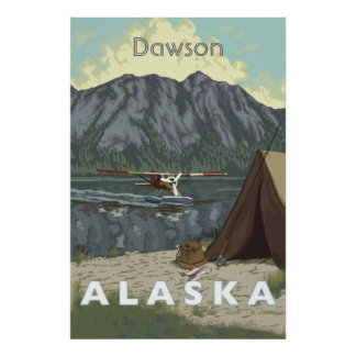 Alaska Bush Plane And Fishing Travel Poster