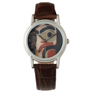 Alaska Carved Wooden Totem Pole Photo Designed Watch