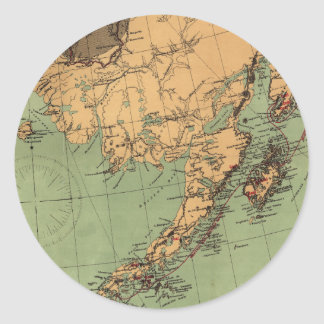 Alaska Coal and Gold Map Classic Round Sticker