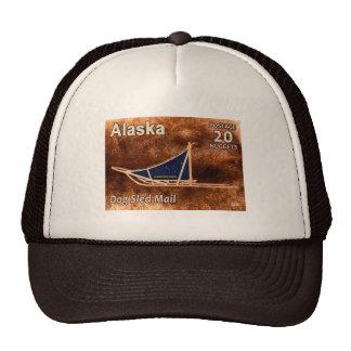 Alaska Dog Sled Mail Postage Stamp Trucker Hat