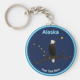 Alaska Eagle And Flag Keychain