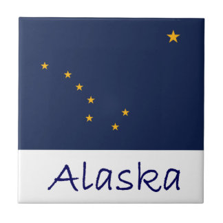 Alaska Flag And Name Ceramic Tile