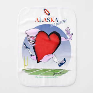 alaska head heart, tony fernandes burp cloth