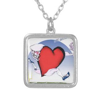 alaska head heart, tony fernandes silver plated necklace