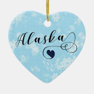 Alaska Heart, Christmas Tree Ornament, Alaskan Ceramic Ornament