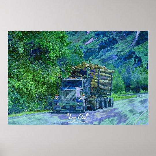 Alaska Highway Logging Truck Transport Art Poster