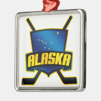 Alaska Ice Hockey Flag Metal Ornament